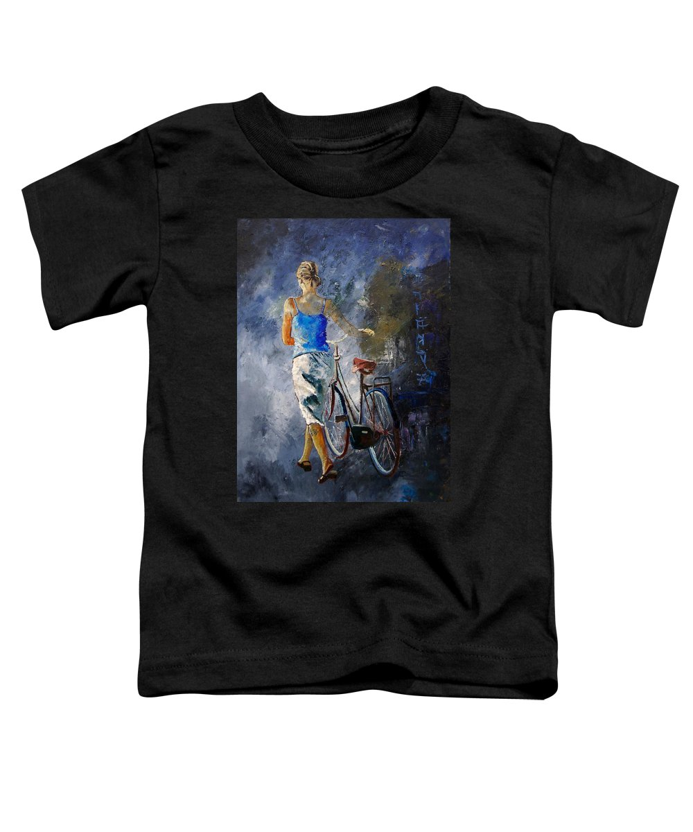 Girl Toddler T-Shirt featuring the painting Waking Aside Her Bike 68 by Pol Ledent