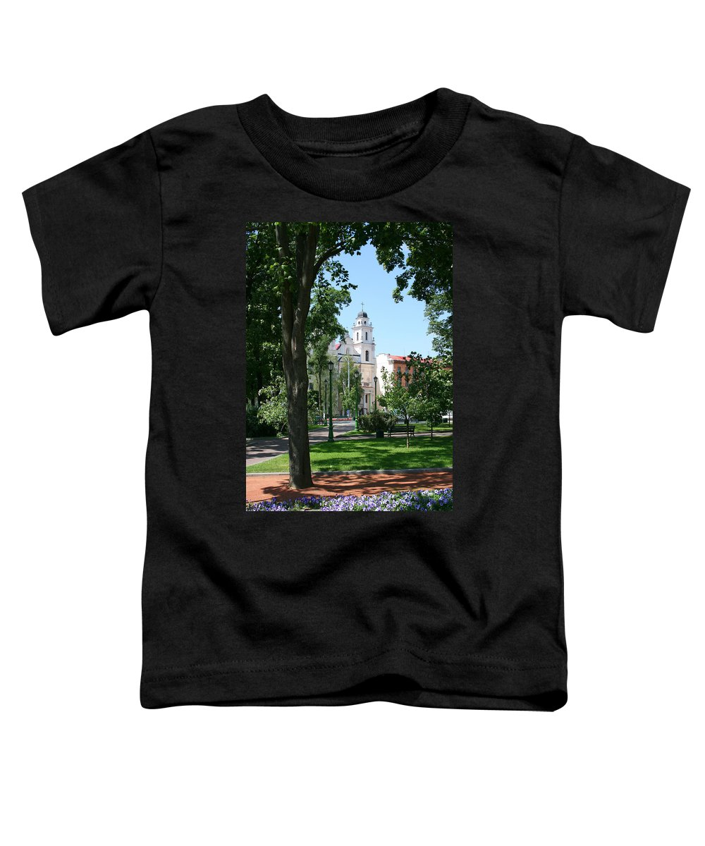 Park City Tree Trees Flowers Church Building Summer Blue Sky Green Walk Bench Toddler T-Shirt featuring the photograph Walk In The Park by Andrei Shliakhau