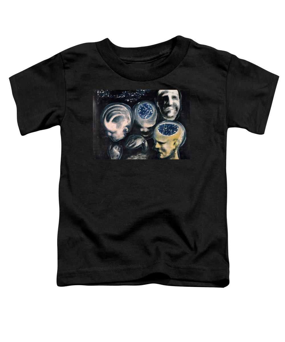 Universe Aura Thoughts Thinking Faces Mistery Toddler T-Shirt featuring the mixed media We Are Universe by Veronica Jackson