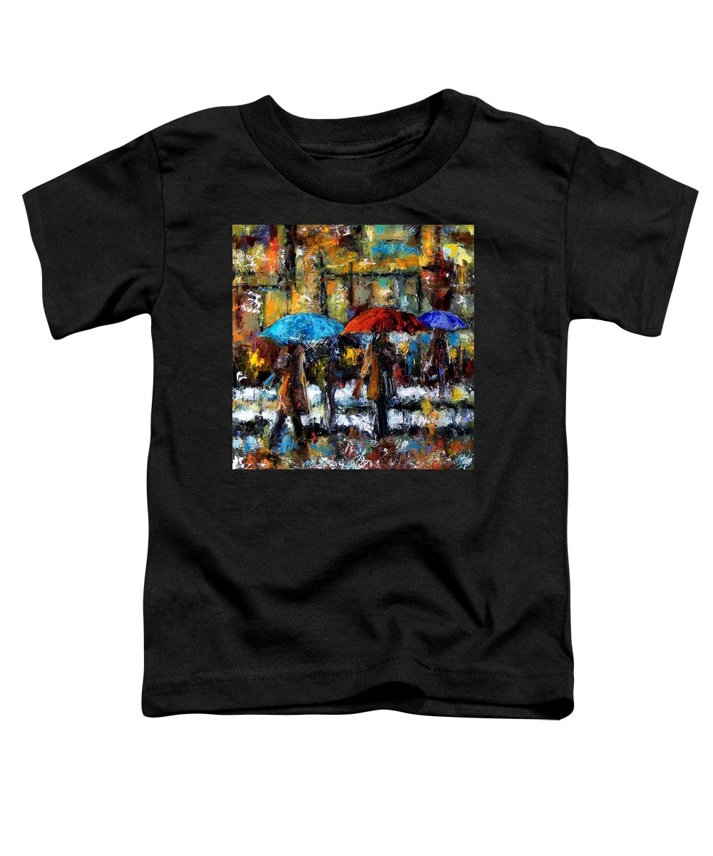 Rainy City Art Toddler T-Shirt featuring the painting Wet Winter Day by Debra Hurd