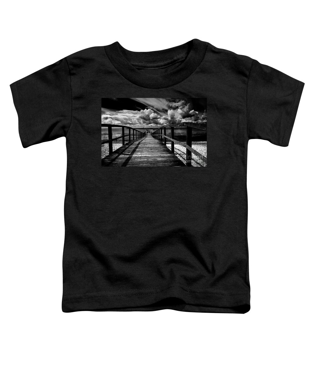 Southend On Sea Wharf Clouds Beach Sand Toddler T-Shirt featuring the photograph Wharf At Southend On Sea by Avalon Fine Art Photography