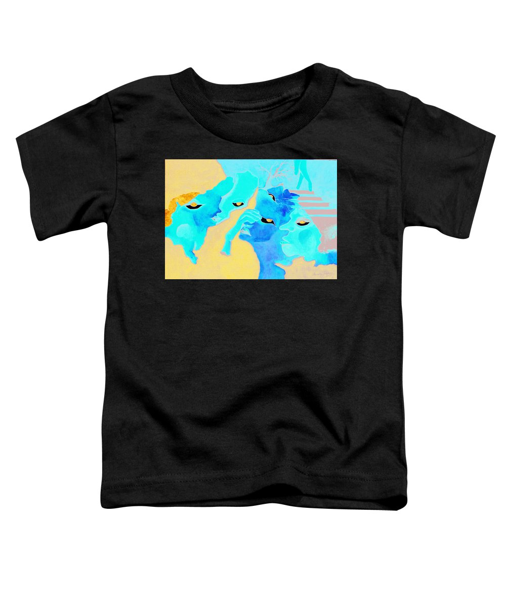 Lost Curious Red Blue People Toddler T-Shirt featuring the painting Where Was I by Veronica Jackson