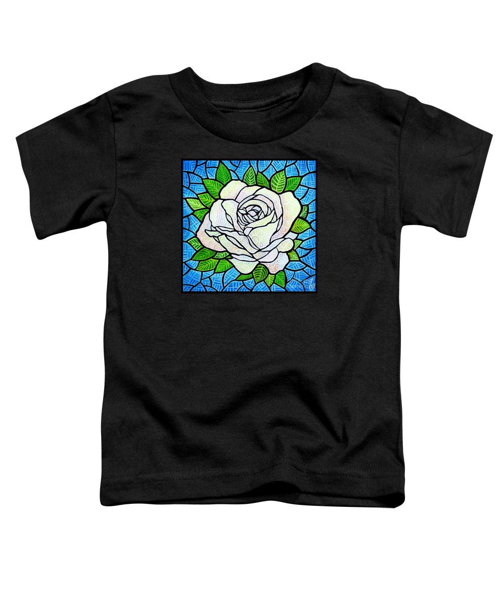 White Toddler T-Shirt featuring the painting White Rose by Jim Harris