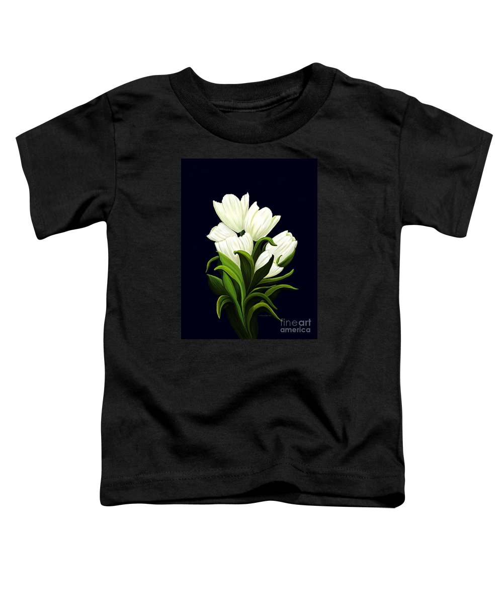 Mixed Media Toddler T-Shirt featuring the painting White Tulips by Patricia Griffin Brett