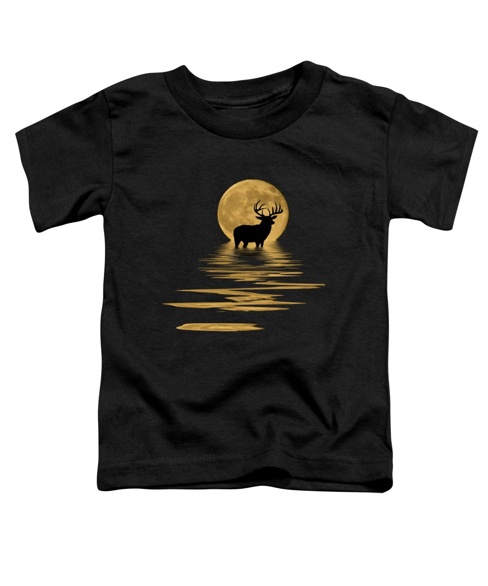 Dark Toddler T-Shirt featuring the mixed media Whitetail Deer In The Moonlight by Shane Bechler