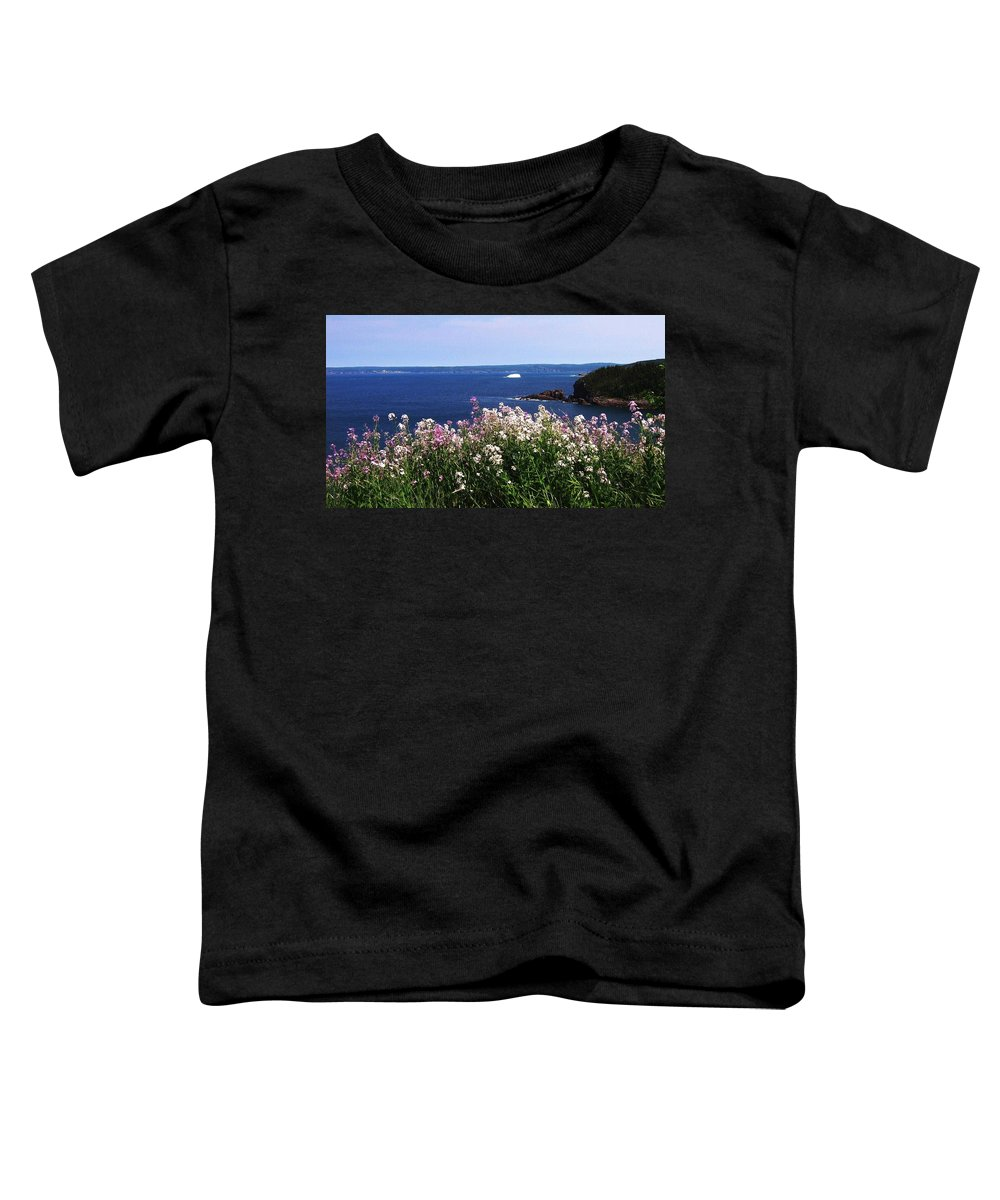 Photograph Iceberg Wild Flower Atlantic Ocean Newfoundland Toddler T-Shirt featuring the photograph Wild Flowers And Iceberg by Seon-Jeong Kim