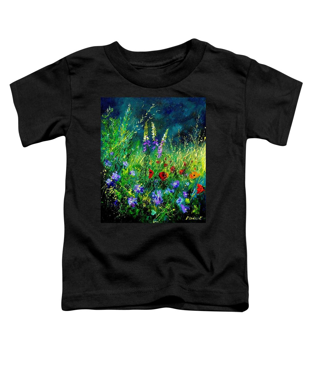 Poppies Toddler T-Shirt featuring the painting Wild Flowers by Pol Ledent