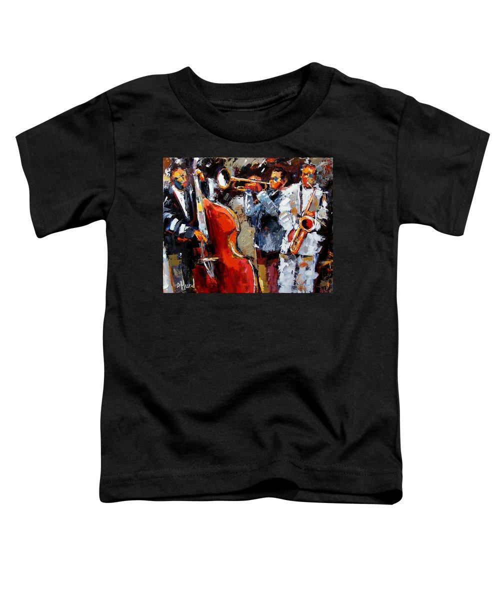 Jazz Toddler T-Shirt featuring the painting Wild Jazz by Debra Hurd