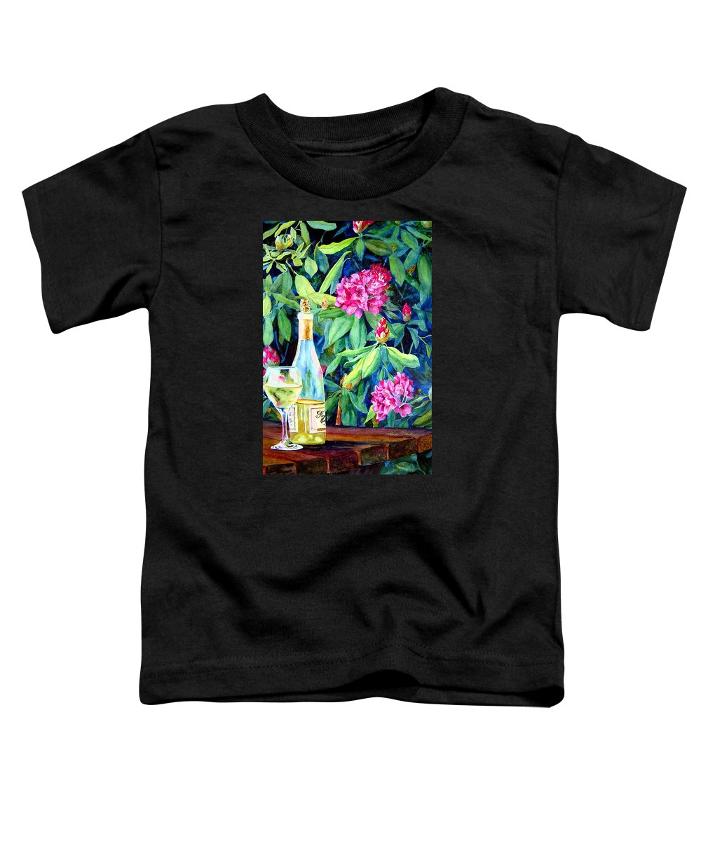 Rhododendron Toddler T-Shirt featuring the painting Wine And Rhodies by Karen Stark