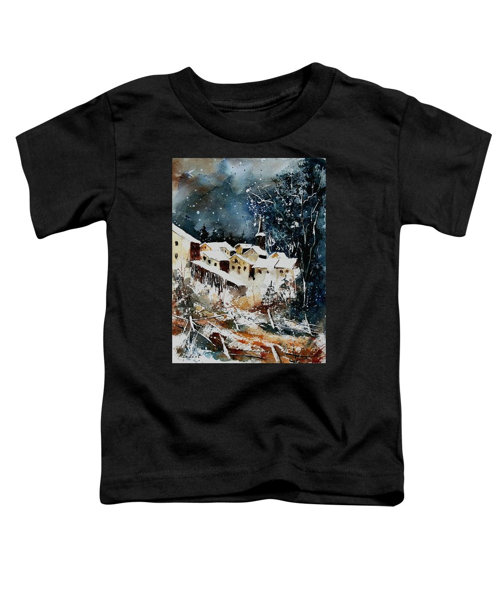 Winter Toddler T-Shirt featuring the painting Winter In Vivy by Pol Ledent