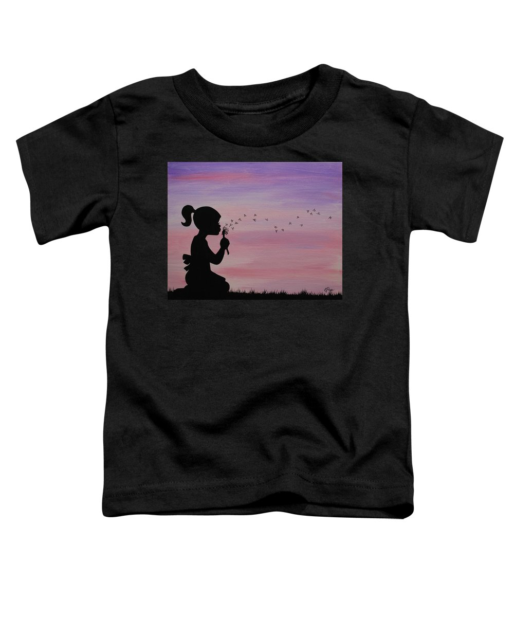 Dandelion Toddler T-Shirt featuring the painting Wishes by Emily Page