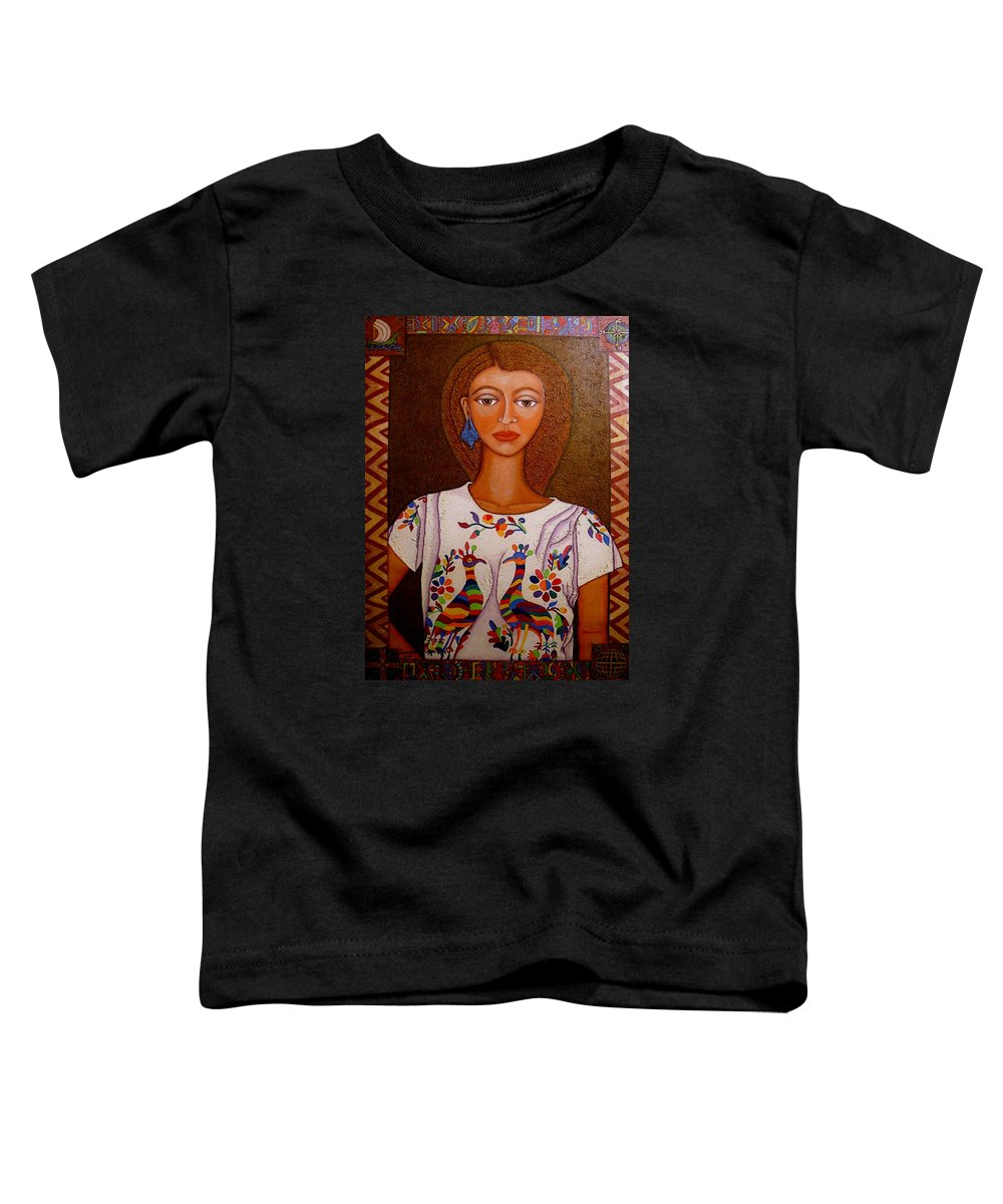 Woman Toddler T-Shirt featuring the painting Women Below And Beyond The Sea by Madalena Lobao-Tello