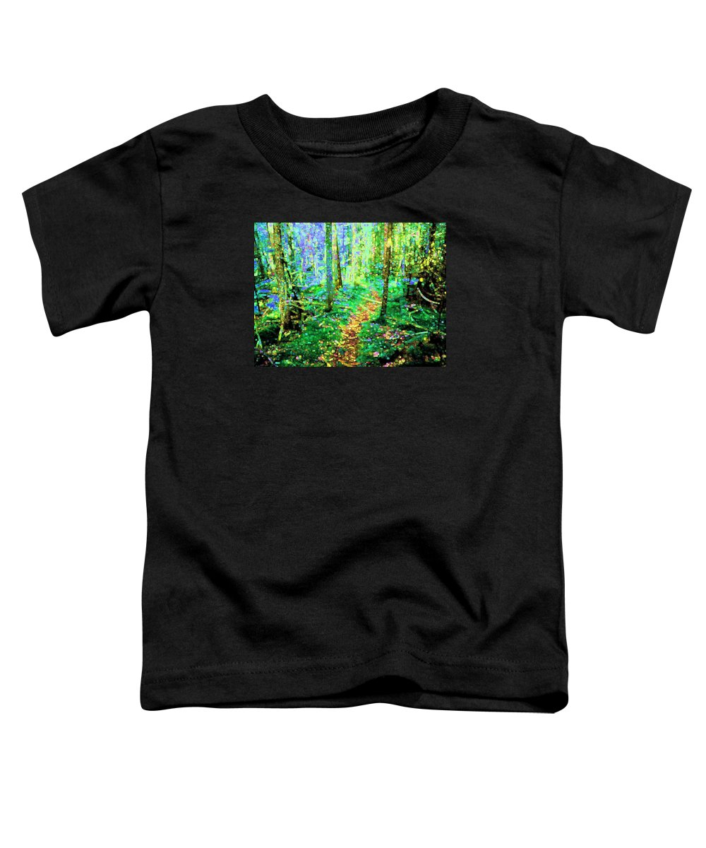 Nature Toddler T-Shirt featuring the digital art Wooded Trail by Dave Martsolf