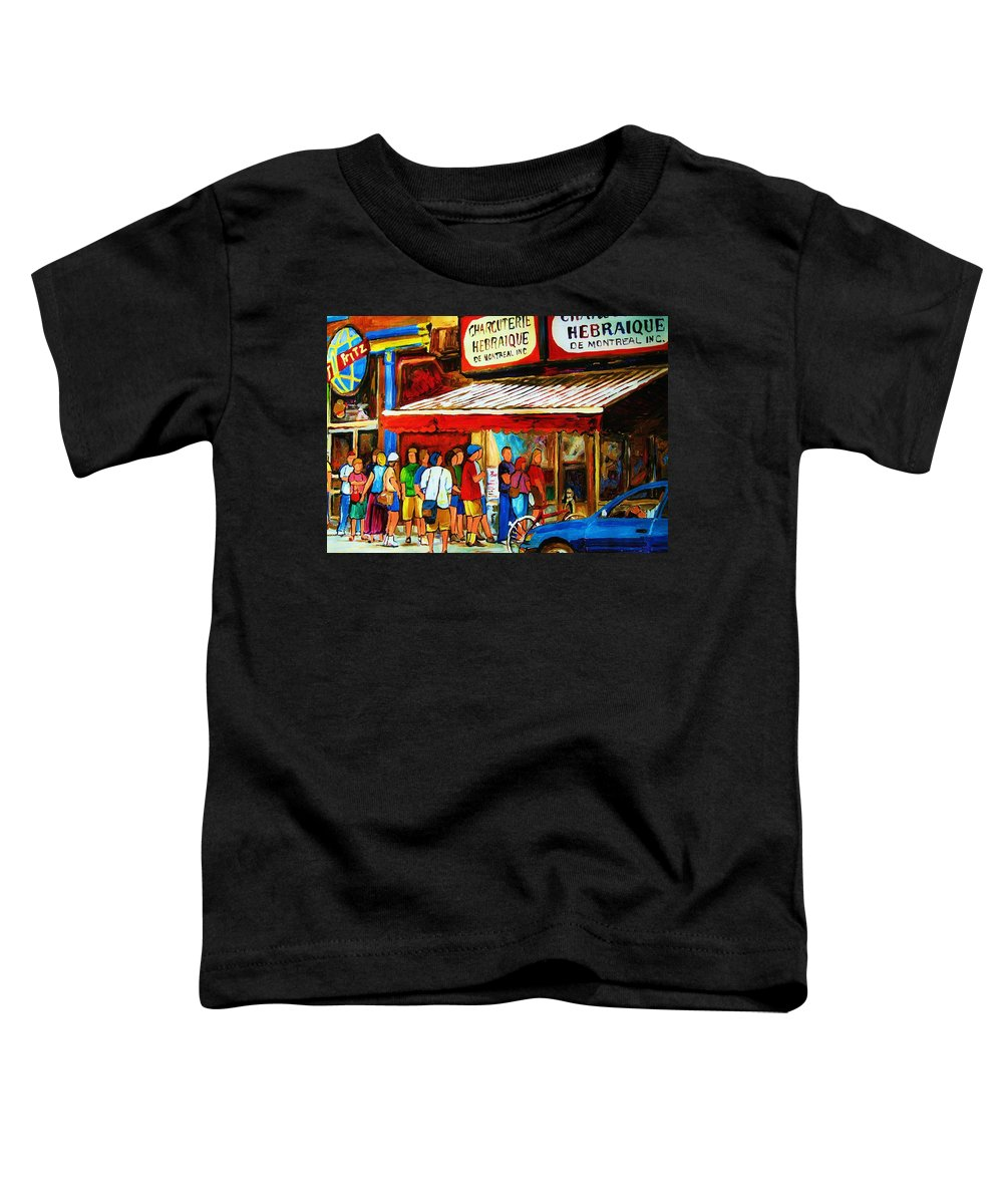 Montreal Streetscenes Toddler T-Shirt featuring the painting Worth The Wait by Carole Spandau