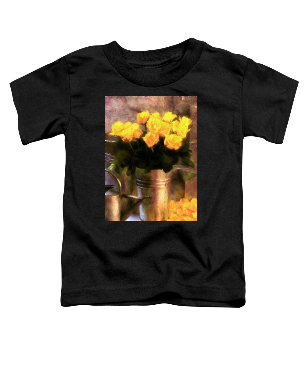 Yellow Roses Impressionism Toddler T-Shirt featuring the mixed media Yellow Roses Impressionism by Georgiana Romanovna