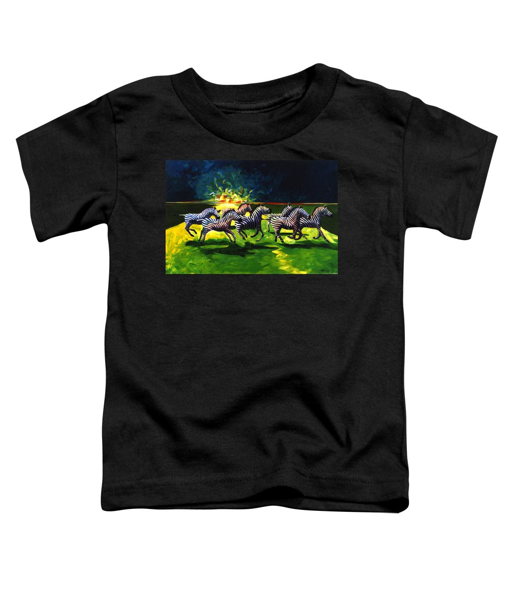 Modern Toddler T-Shirt featuring the painting Zebz by Lance Headlee