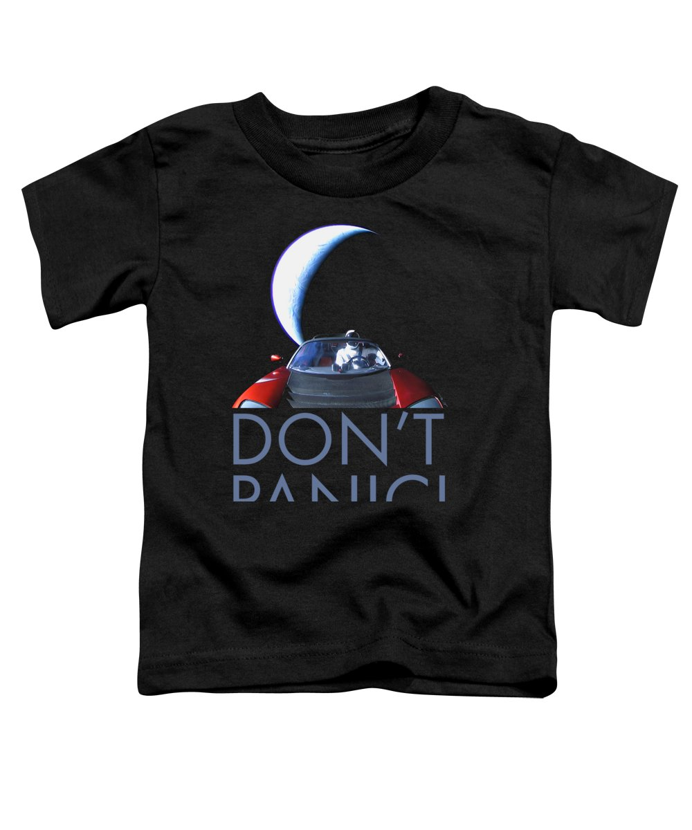Dont Panic Toddler T-Shirt featuring the photograph Don't Panic Starman by Filip Hellman