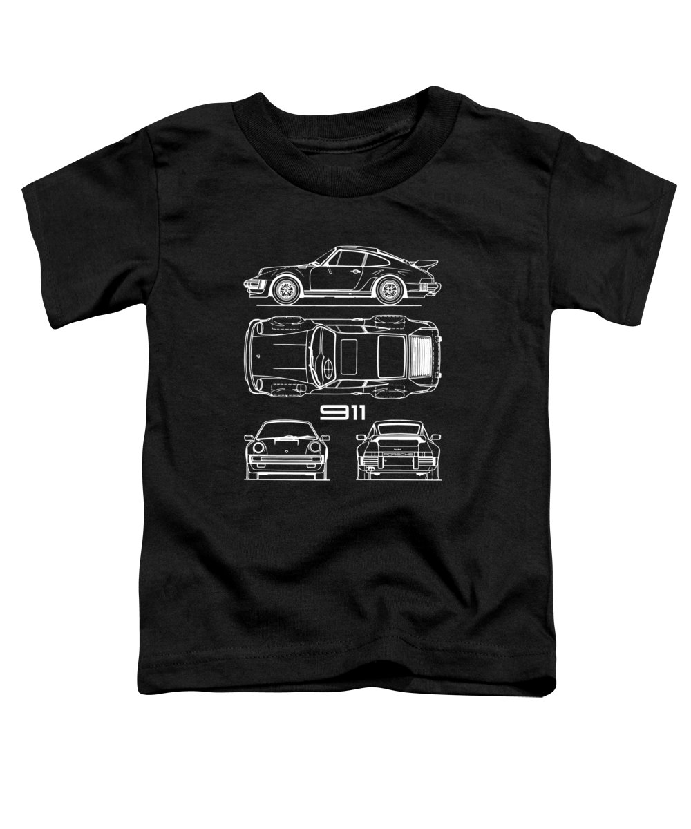 Porsche Toddler T-Shirt featuring the photograph 911 Turbo Blueprint - Black by Mark Rogan