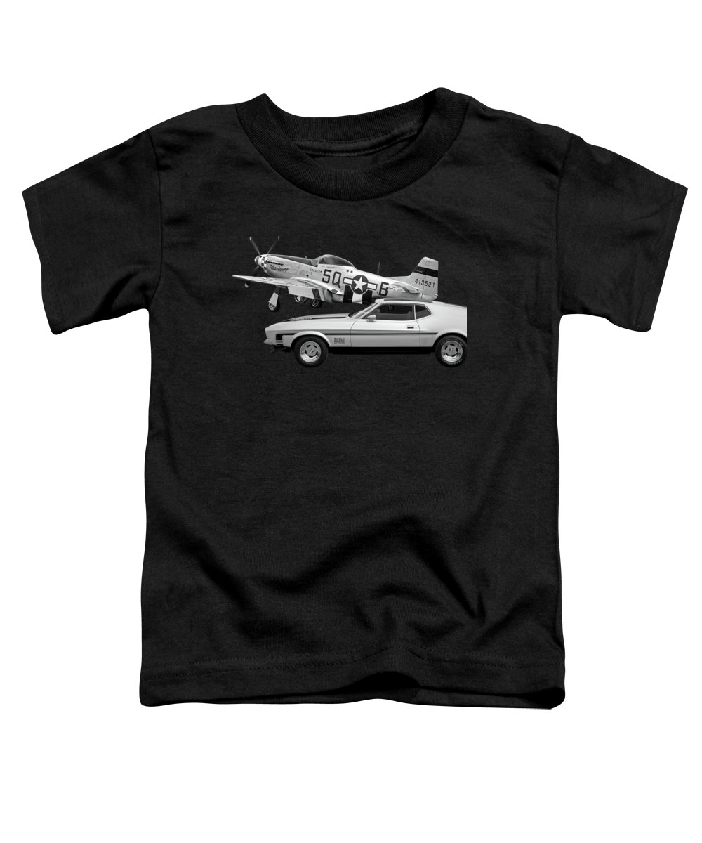 Mustang With P51 Toddler T-Shirt featuring the photograph Mach 1 Mustang With P51 In Black And White by Gill Billington