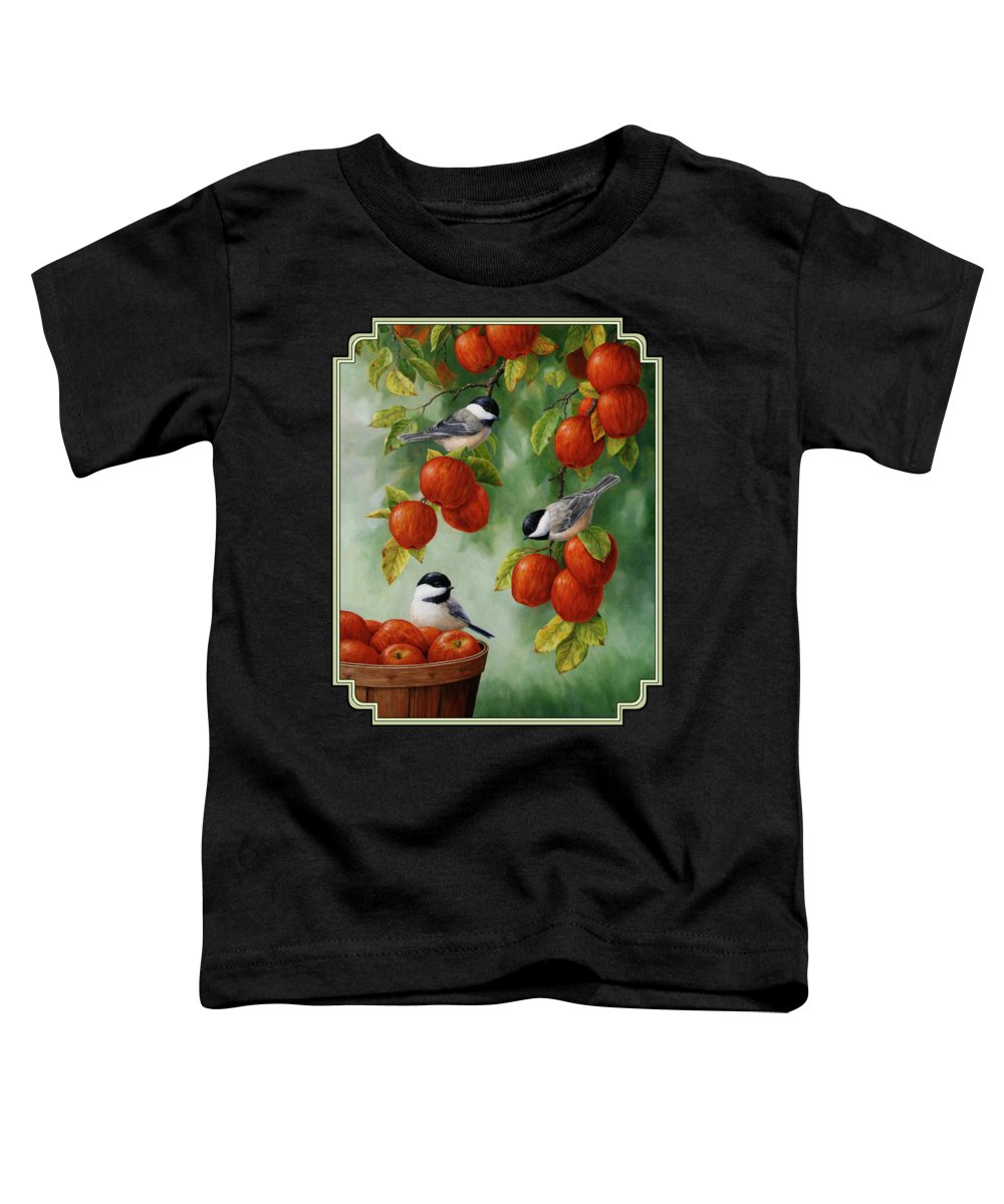Birds Toddler T-Shirt featuring the painting Bird Painting - Apple Harvest Chickadees by Crista Forest