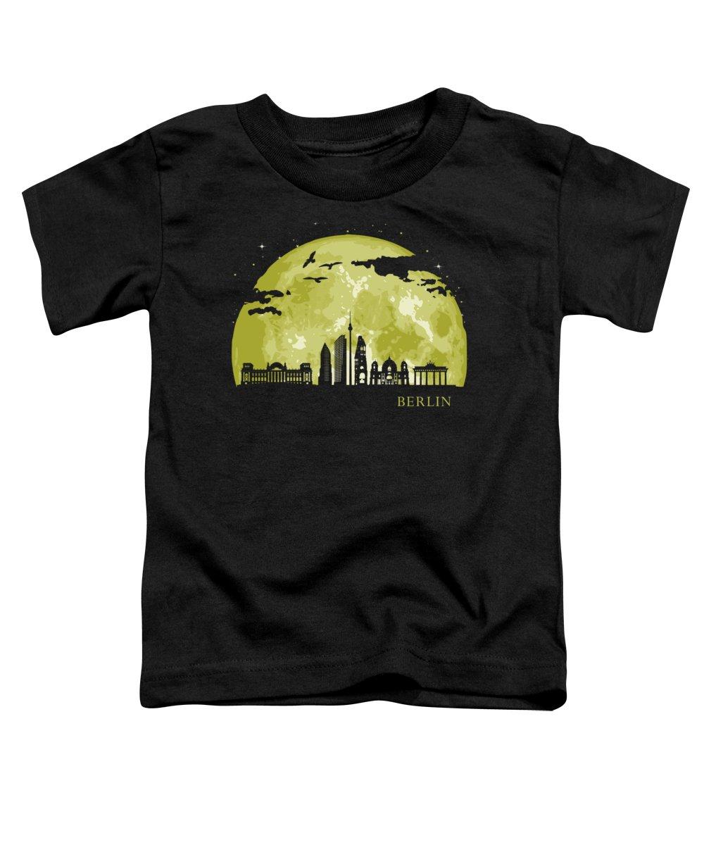 Deutchland Toddler T-Shirt featuring the digital art Berlin Moon Light Night Stars Skyline by Filip Hellman