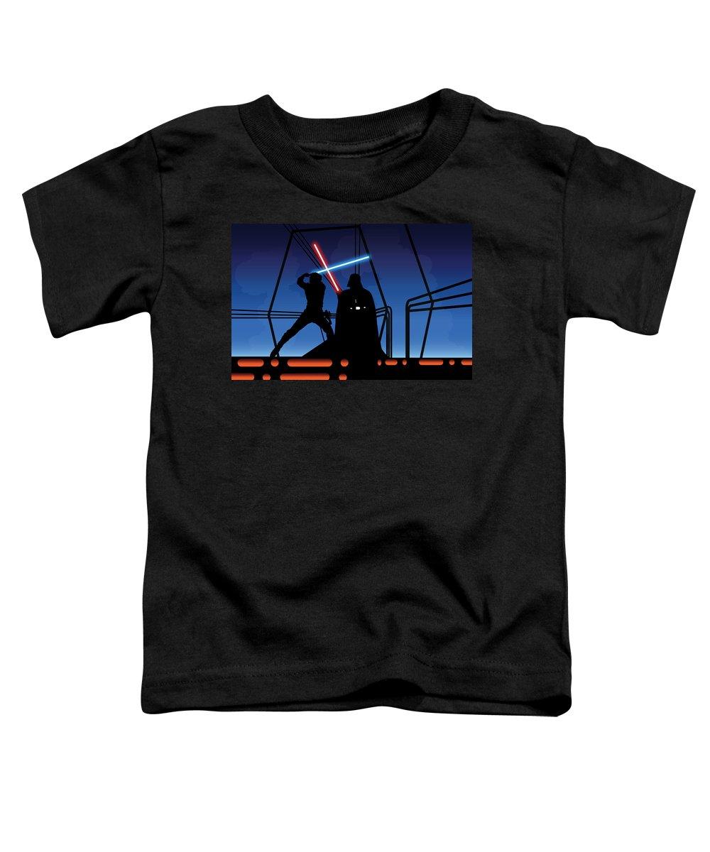 Darth Vader Toddler T-Shirt featuring the digital art Bespin Duel by Nathan Shegrud