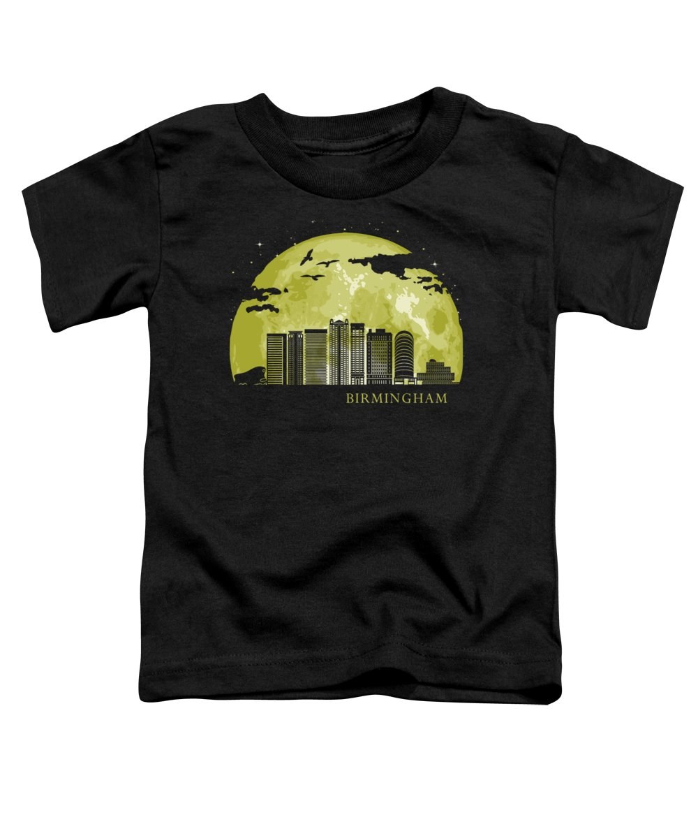 Birmingham Toddler T-Shirt featuring the digital art Birmingham England Moon Light Night Stars Skyline by Filip Hellman
