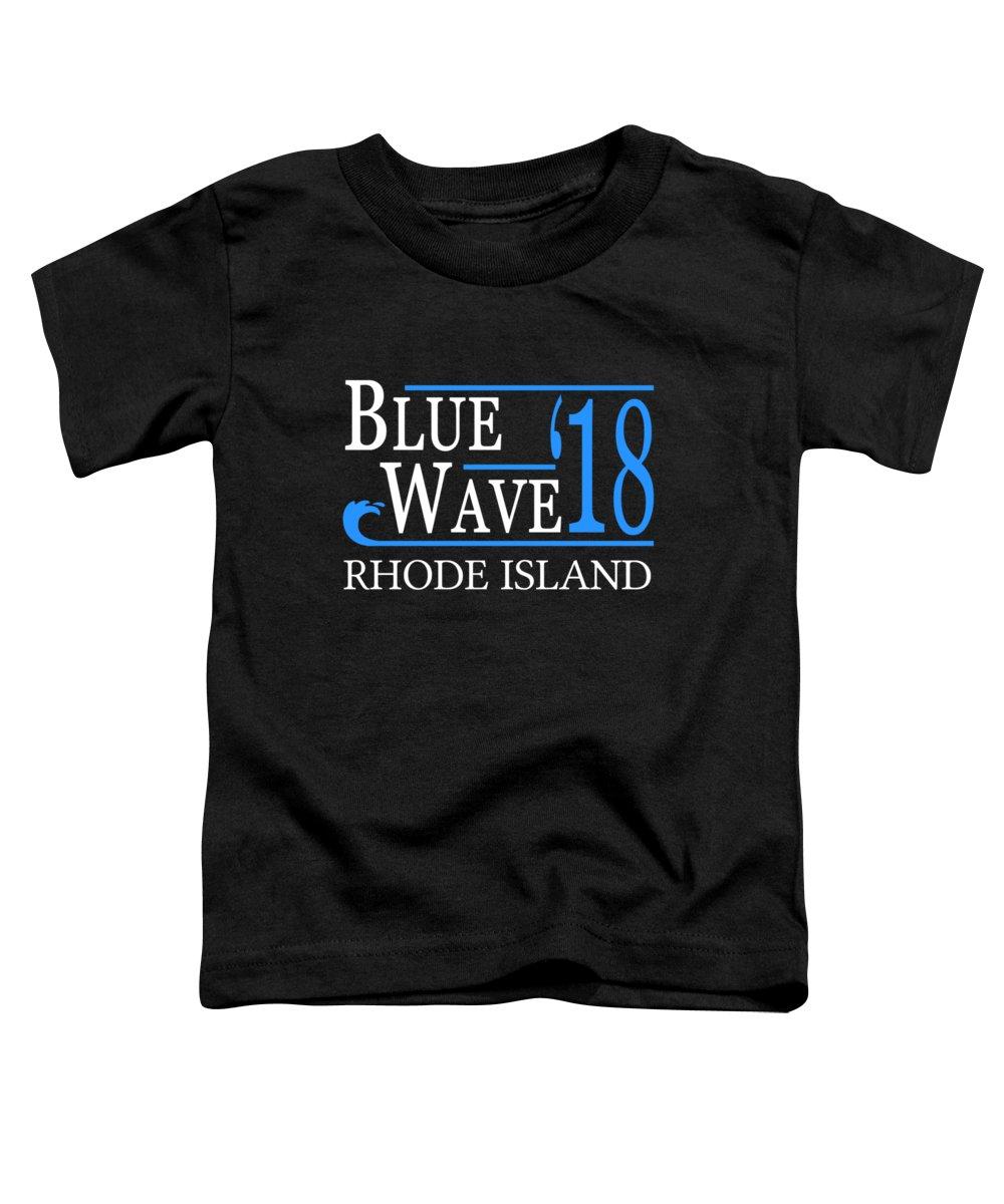 Election Toddler T-Shirt featuring the digital art Blue Wave Rhode Island Vote Democrat 2018 by Flippin Sweet Gear