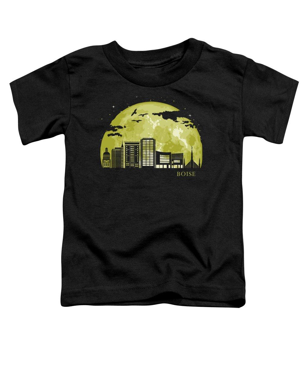 Idaho Toddler T-Shirt featuring the digital art Boise Moon Light Night Stars Skyline by Filip Hellman