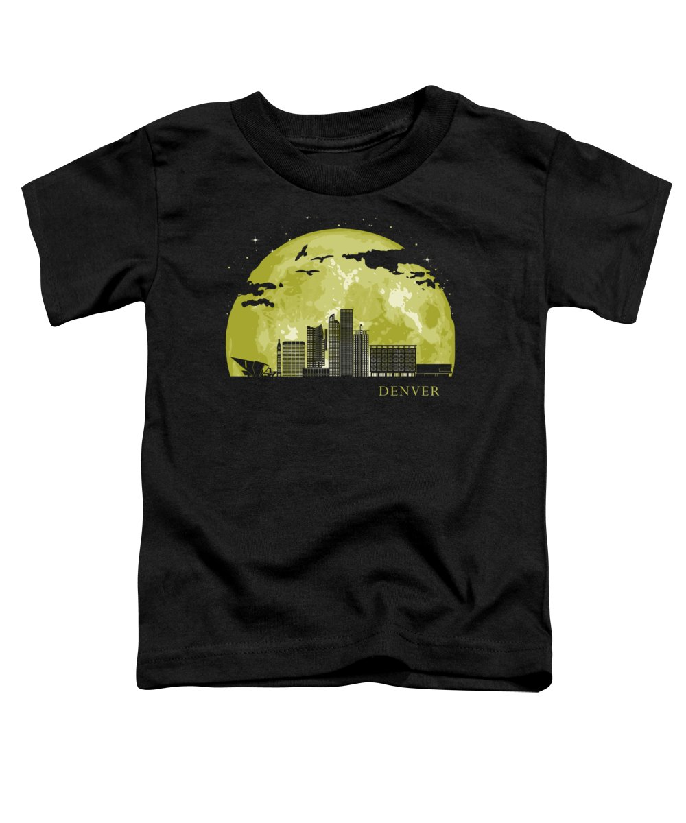 Colorado Toddler T-Shirt featuring the digital art Denver Moon Light Night Stars Skyline by Filip Hellman