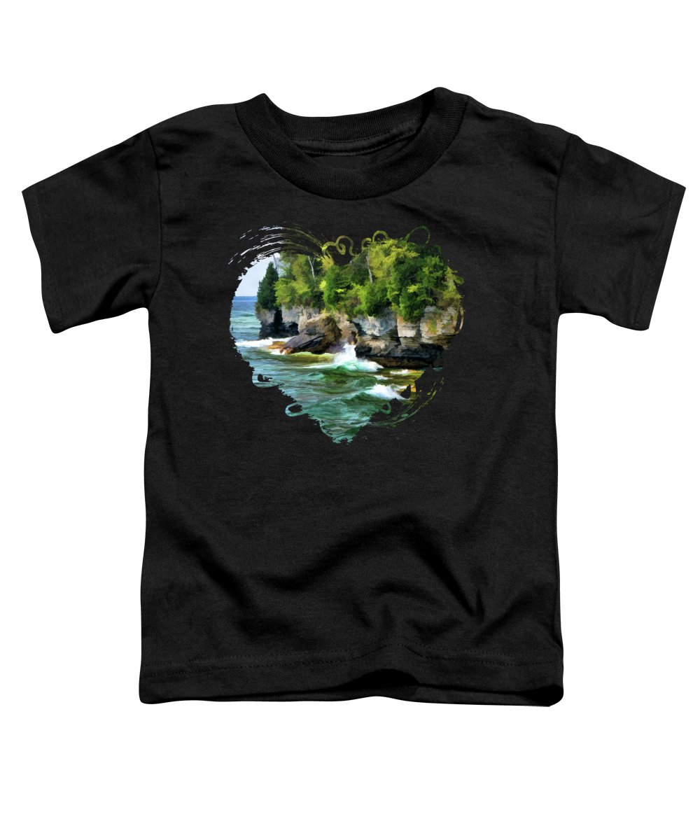 Cave Point Toddler T-Shirt featuring the painting Door County Cave Point Cliffs by Christopher Arndt