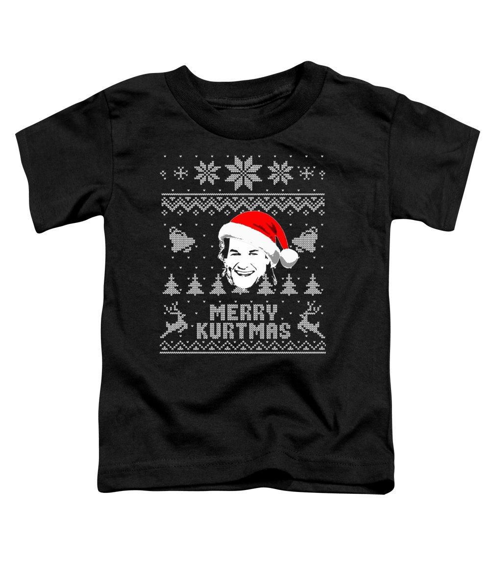 Kurt Toddler T-Shirt featuring the digital art Kurt Russell Merry Kurtmas Christmas Shirt by Filip Schpindel