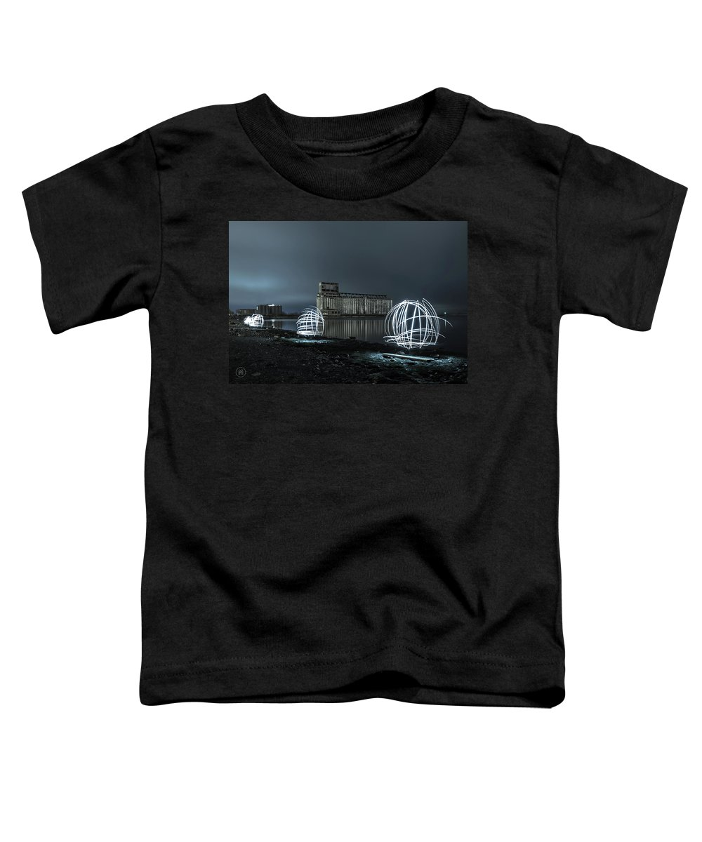 Galagher Pier Toddler T-Shirt featuring the photograph Lights in the Night by Dave Niedbala