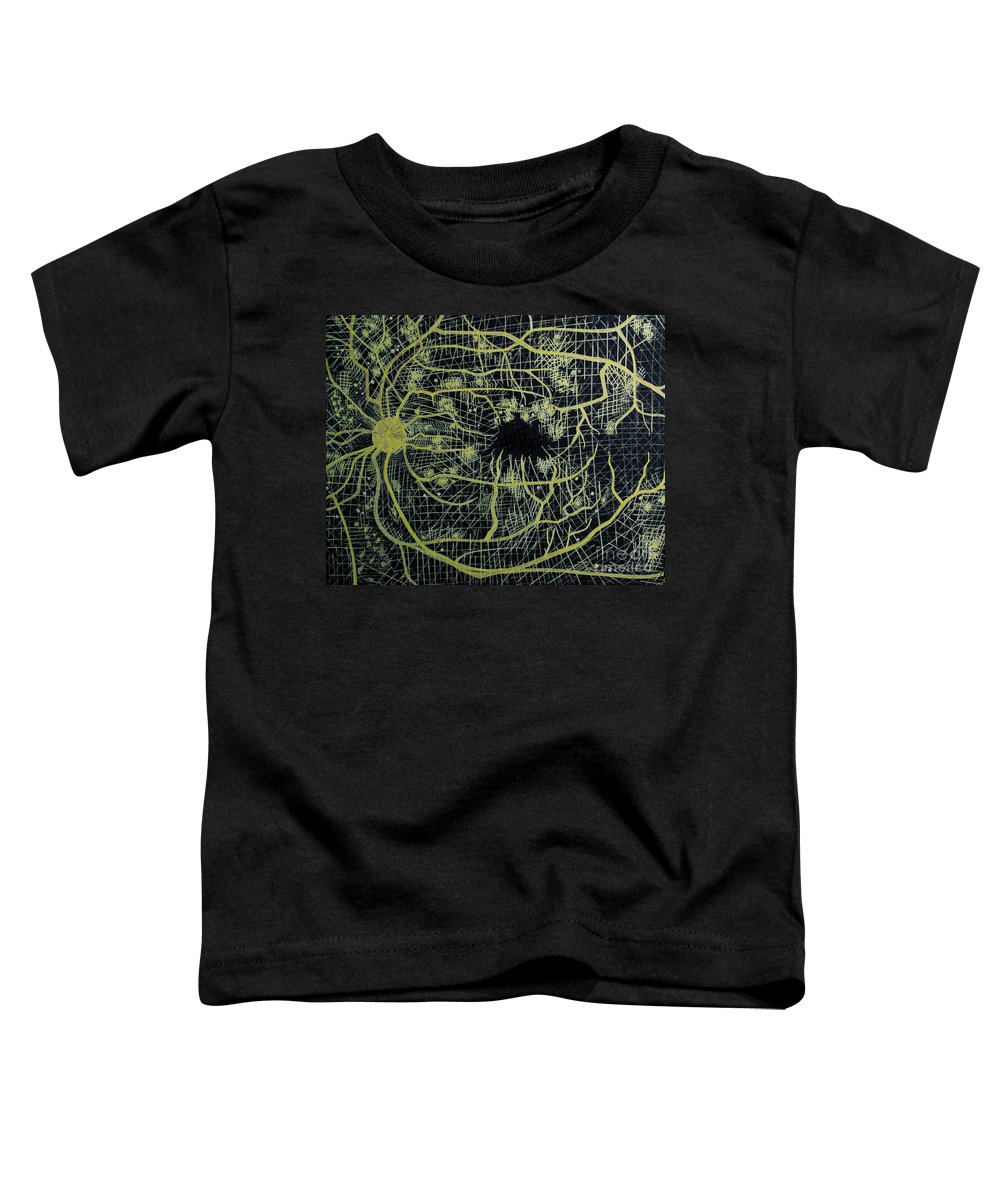Flourescein Toddler T-Shirt featuring the drawing Microaneurysms Flourescein Angiography by Feyene Art