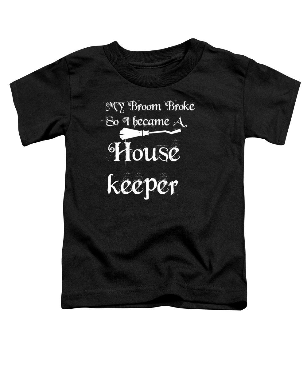 Halloween Shirt Toddler T-Shirt featuring the digital art My Broom Housekeeper by Kaylin Watchorn