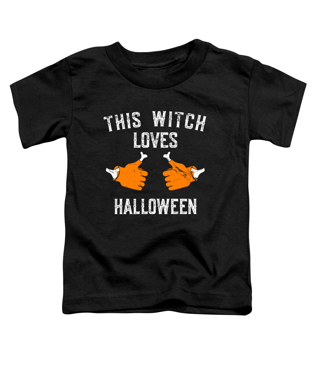 Cool Toddler T-Shirt featuring the digital art This Witch Loves Halloween by Flippin Sweet Gear