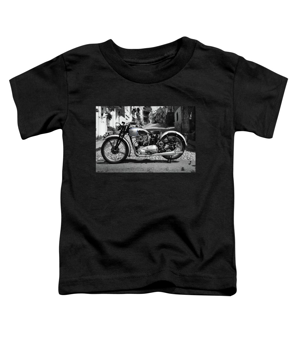 Triumph Tiger Toddler T-Shirt featuring the photograph Tiger T100 Vintage Motorcycle by Mark Rogan
