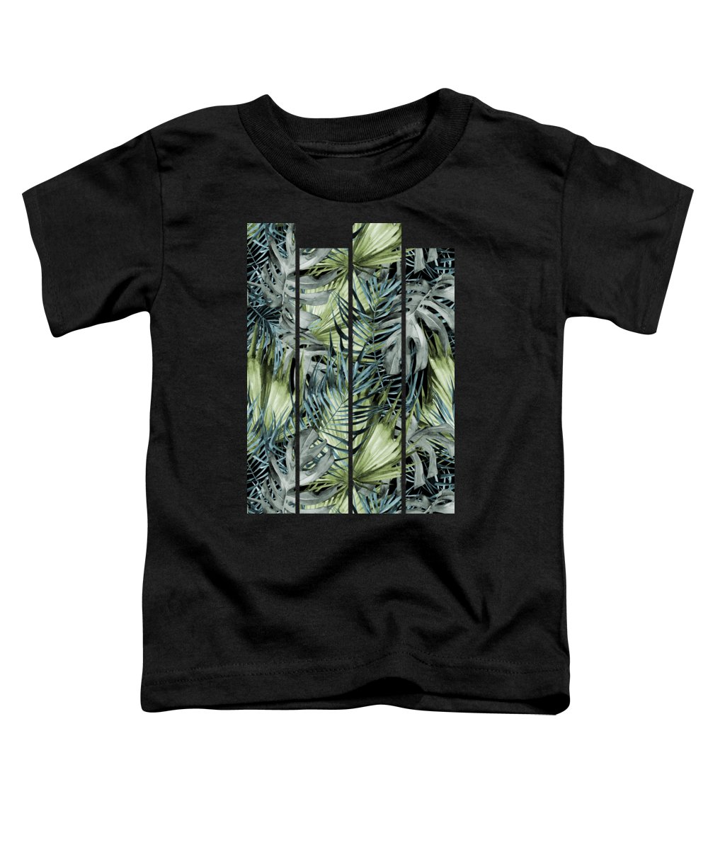 Tropical Toddler T-Shirt featuring the painting Tropical Leaves I by Magic Dreams