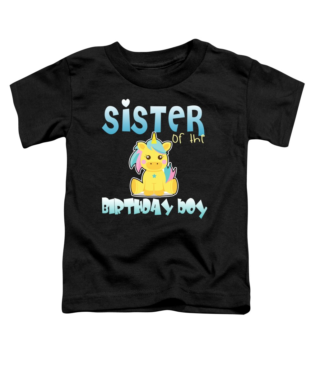 Unicorn-gifts Toddler T-Shirt featuring the digital art Unicorn Sister Of The Birthday Boy by Passion Loft