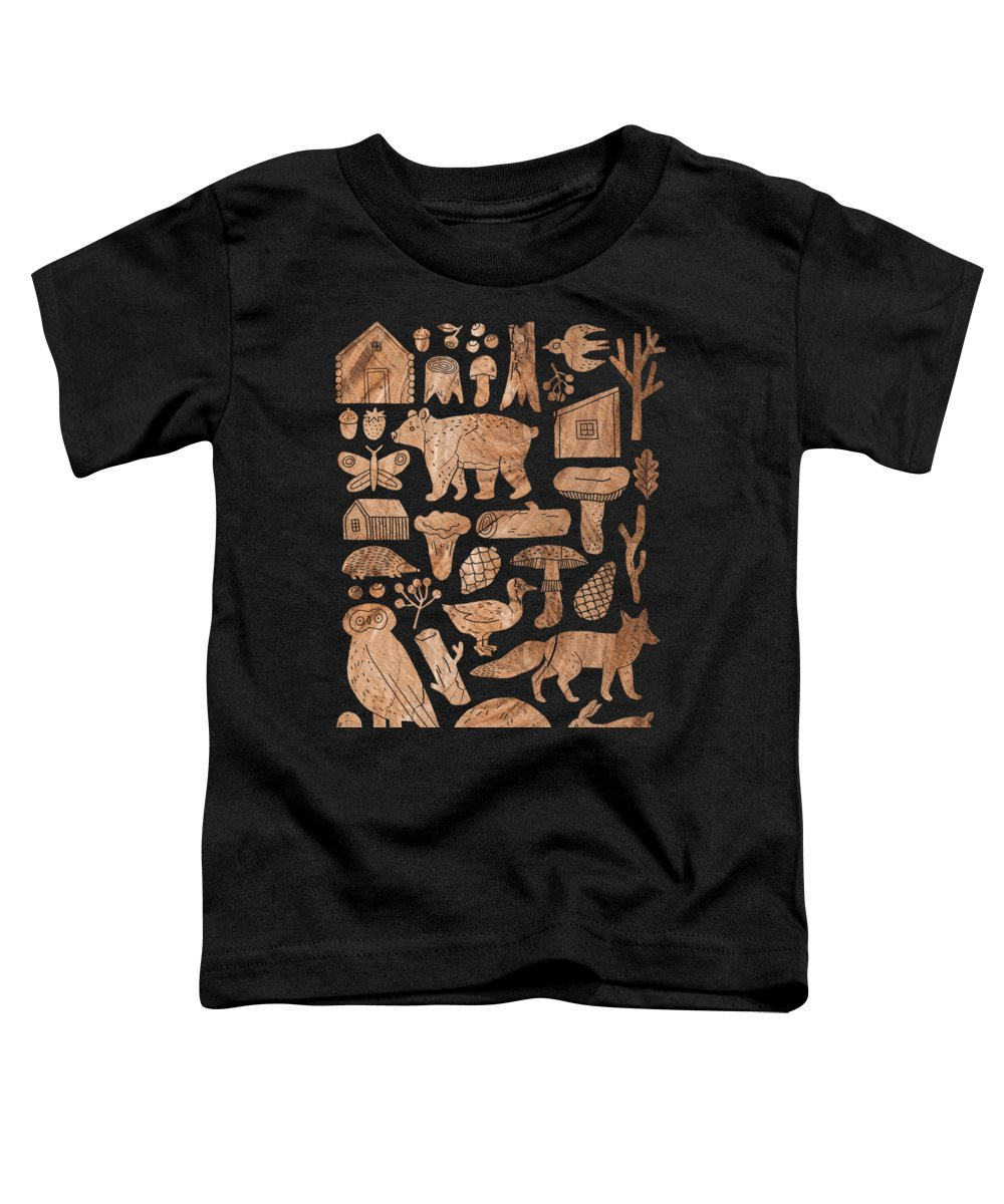Woodcut Toddler T-Shirt featuring the mixed media Woodcut Forest Life by Amanda Lakey