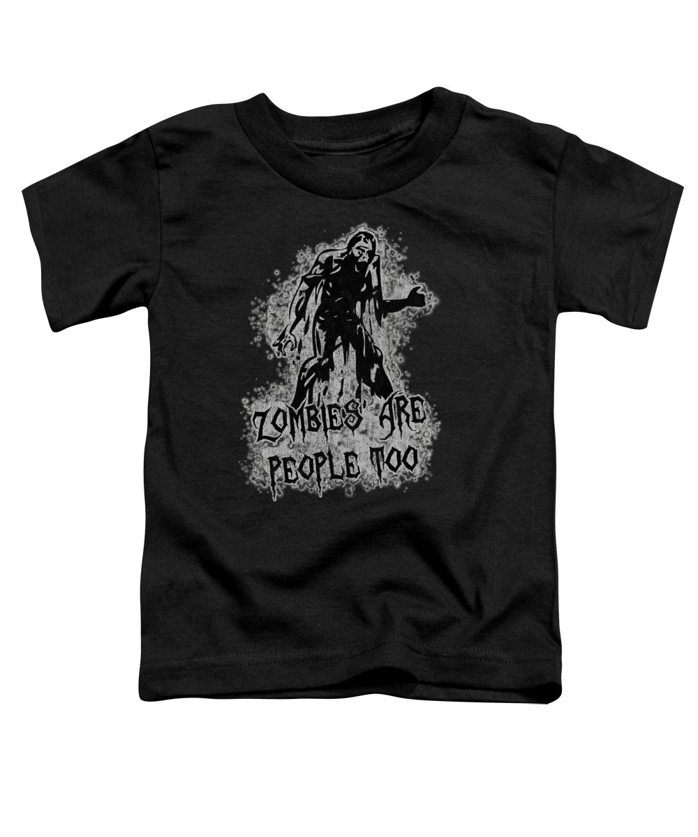 Cool Toddler T-Shirt featuring the digital art Zombies Are People Too Halloween Vintage by Flippin Sweet Gear