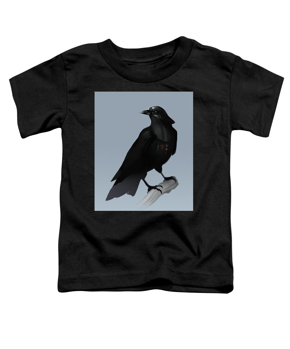 Birds Toddler T-Shirt featuring the digital art Crow Vader by Michael Myers