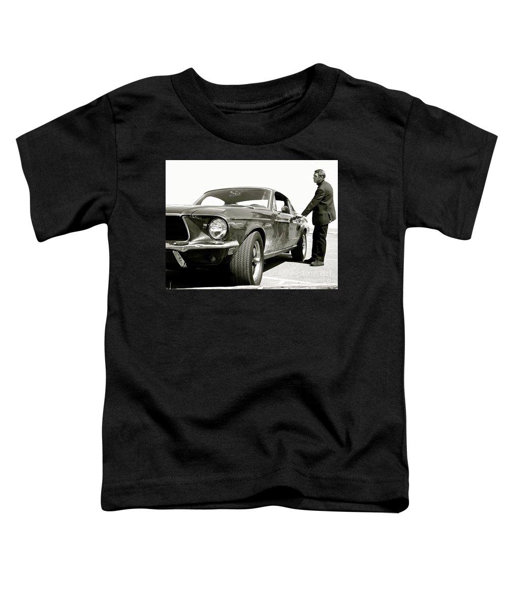Bullitt Toddler T-Shirt featuring the mixed media Detective Lieutenant Frank Bullitt, Steve McQueen, 1968 Ford Mustang GT 390 by Thomas Pollart