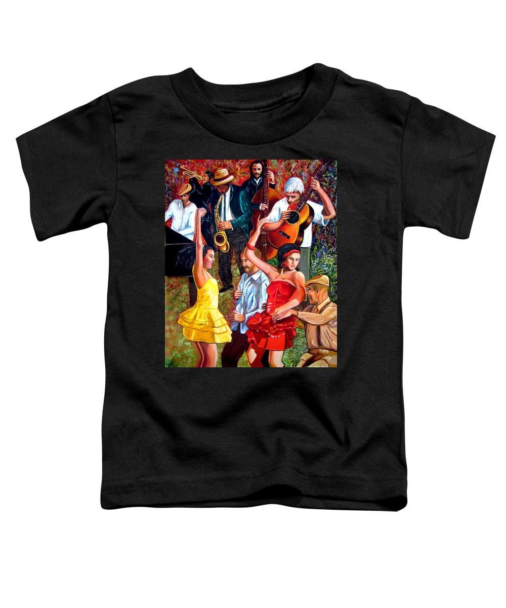 Cuban Art Toddler T-Shirt featuring the painting Party times by Jose Manuel Abraham