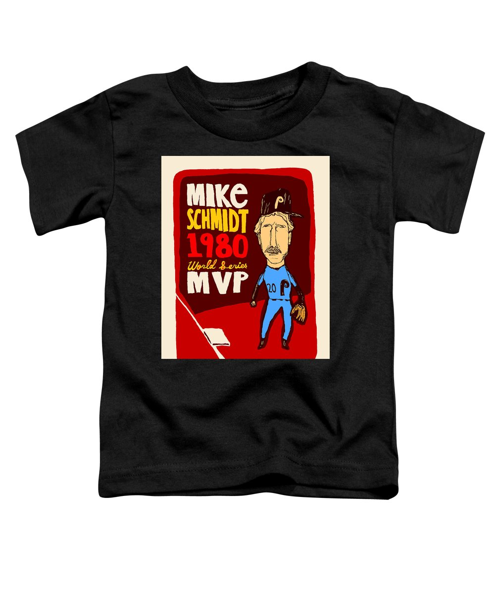 Mike Schmidt Toddler T-Shirt featuring the mixed media Philadelphia Phillies - Mike Schmidt by JB Perkins
