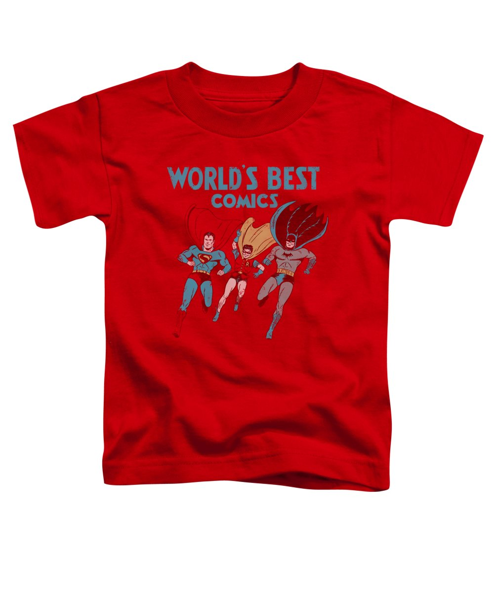 Justice League Of America Toddler T-Shirt featuring the digital art Jla - Worlds Best by Brand A