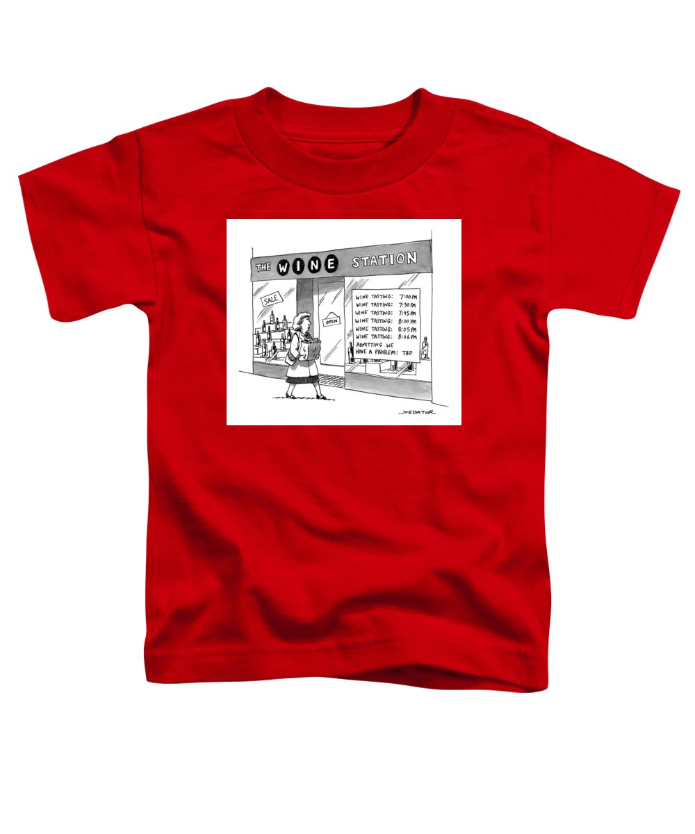 Captionless Toddler T-Shirt featuring the drawing The Wine Station by Joe Dator