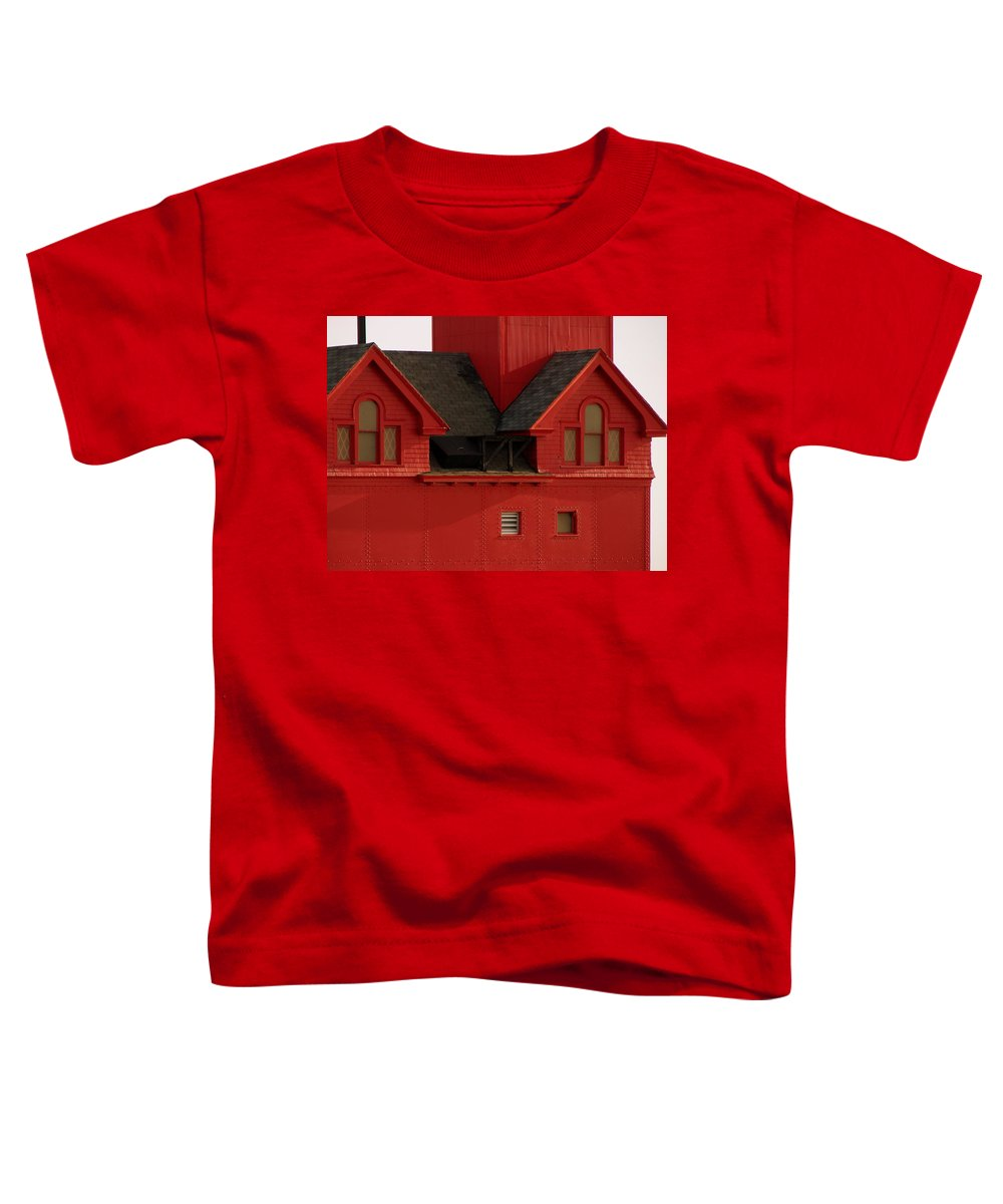 Windows Toddler T-Shirt featuring the photograph Big Red Holland Harbor Light Michigan by Michelle Calkins