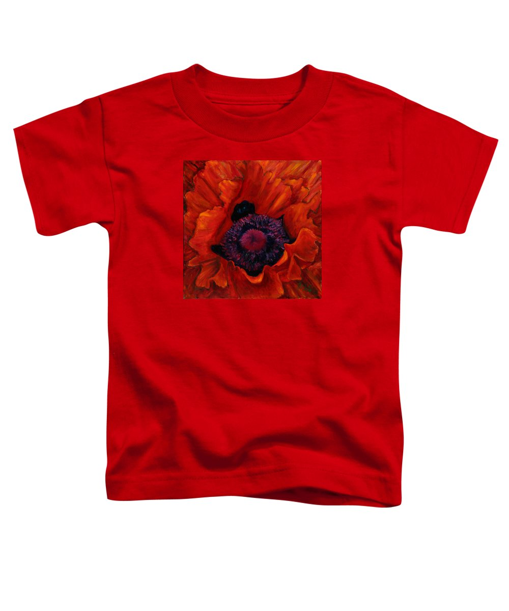 Red Poppy Toddler T-Shirt featuring the painting Close Up Poppy by Billie Colson
