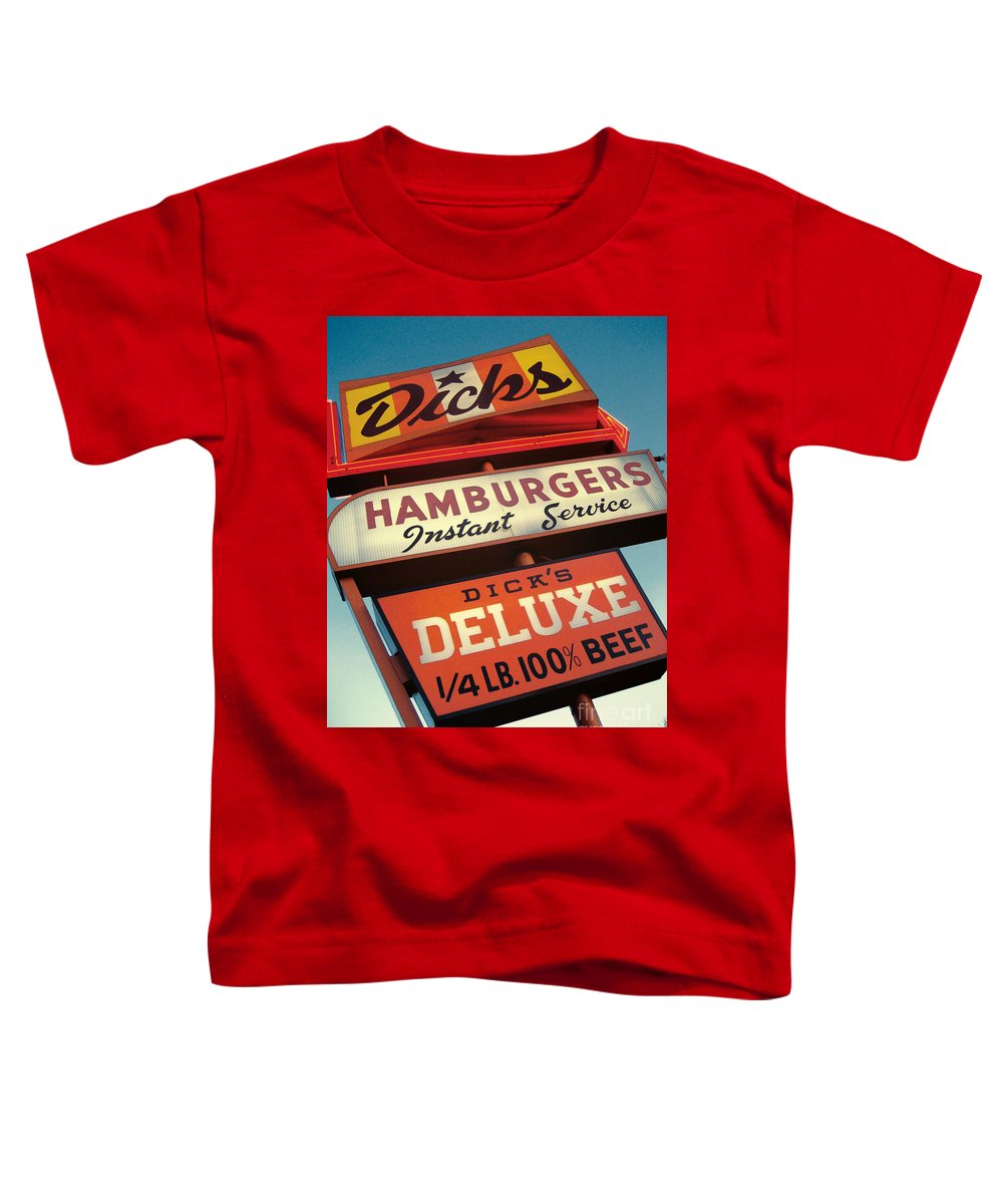Burgers Toddler T-Shirt featuring the digital art Dick's Hamburgers by Jim Zahniser